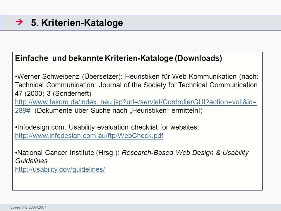 5. Kriterien-Kataloge  ArbeitsschritteW. Einfache und bekannte Kriterien-Kataloge (Downloads)
