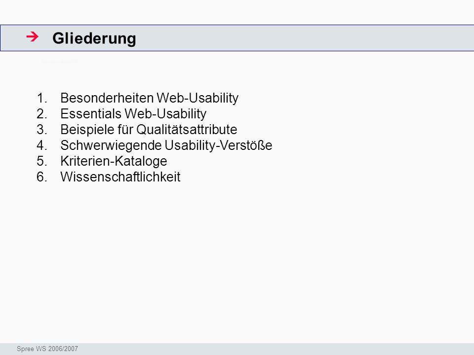 Gliederung  Besonderheiten Web-Usability Essentials Web-Usability