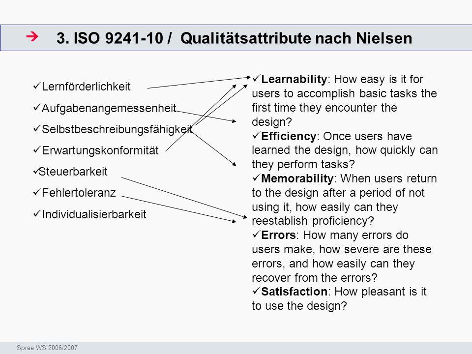 3. ISO 9241-10 / Qualitätsattribute nach Nielsen
