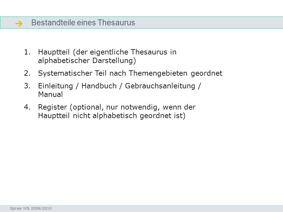 Bestandteile eines Thesaurus