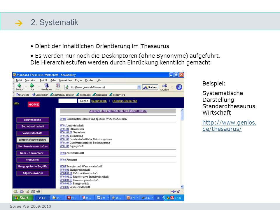  2. Systematik Dient der inhaltlichen Orientierung im Thesaurus