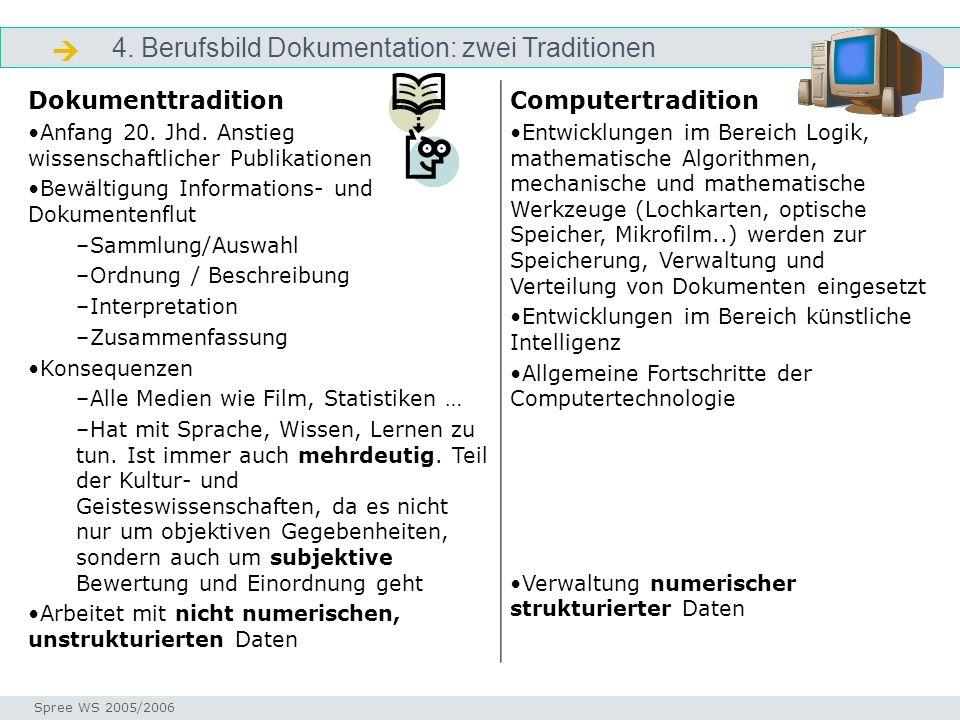  4. Berufsbild Dokumentation: zwei Traditionen Dokumenttradition