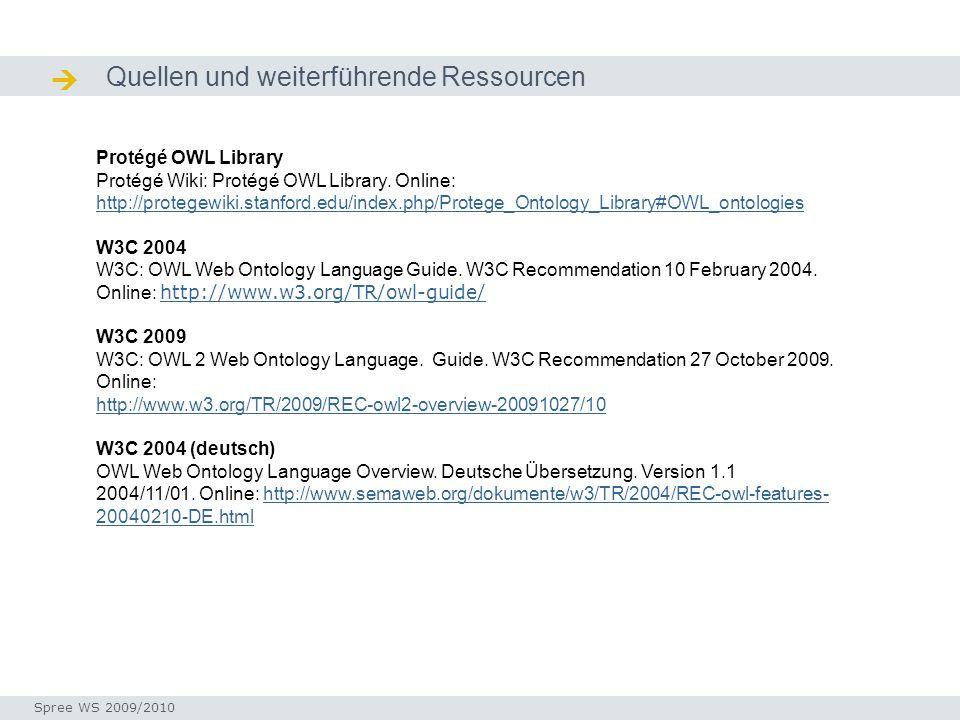  Quellen und weiterführende Ressourcen Protégé OWL Library