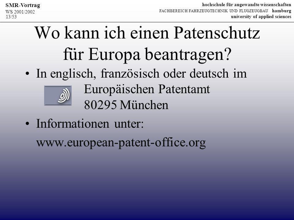 Wo kann ich einen Patenschutz für Europa beantragen