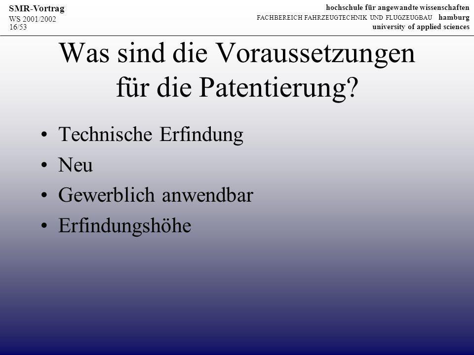 Was sind die Voraussetzungen für die Patentierung