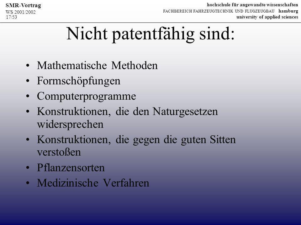Nicht patentfähig sind: