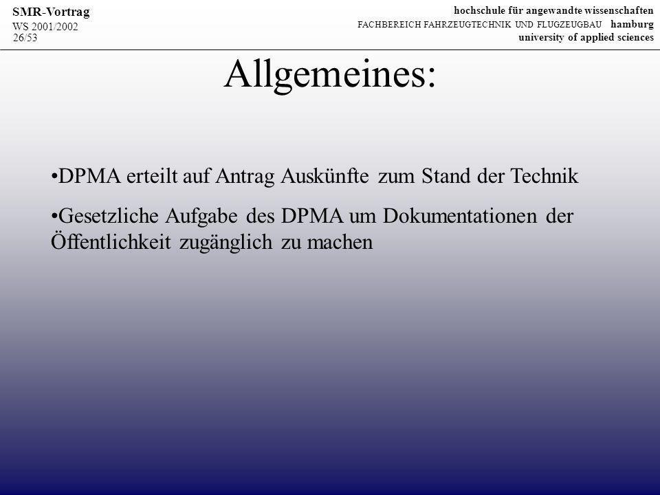 Allgemeines: DPMA erteilt auf Antrag Auskünfte zum Stand der Technik