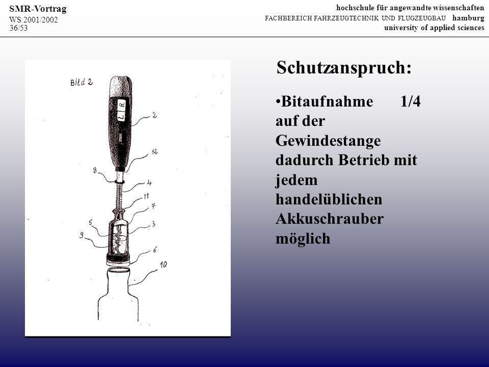 Schutzanspruch: Bitaufnahme 1/4 auf der Gewindestange dadurch Betrieb mit jedem handelüblichen Akkuschrauber möglich.