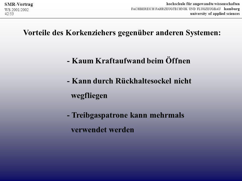 Vorteile des Korkenziehers gegenüber anderen Systemen: