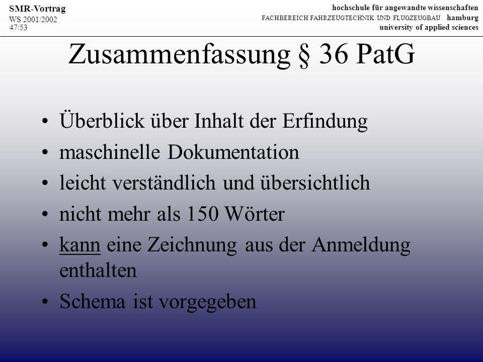 Zusammenfassung § 36 PatG