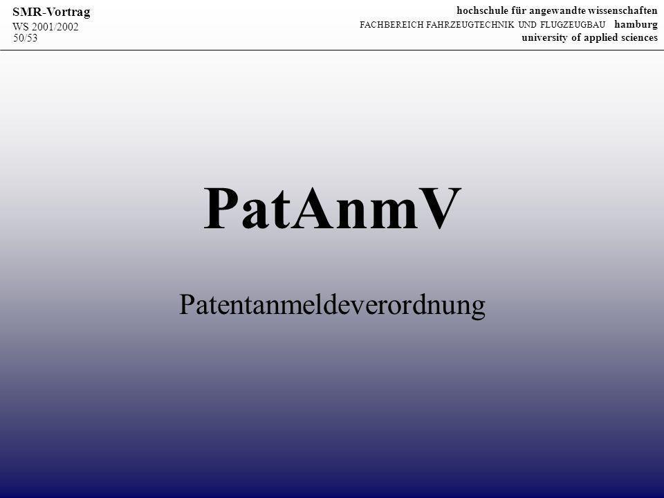 Patentanmeldeverordnung