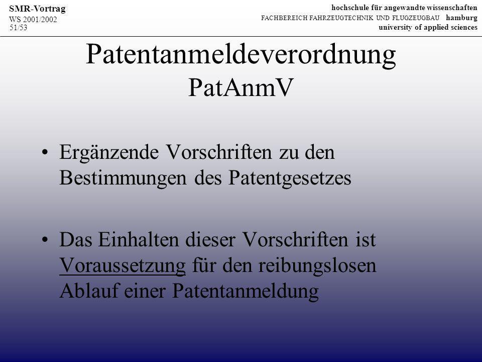 Patentanmeldeverordnung PatAnmV