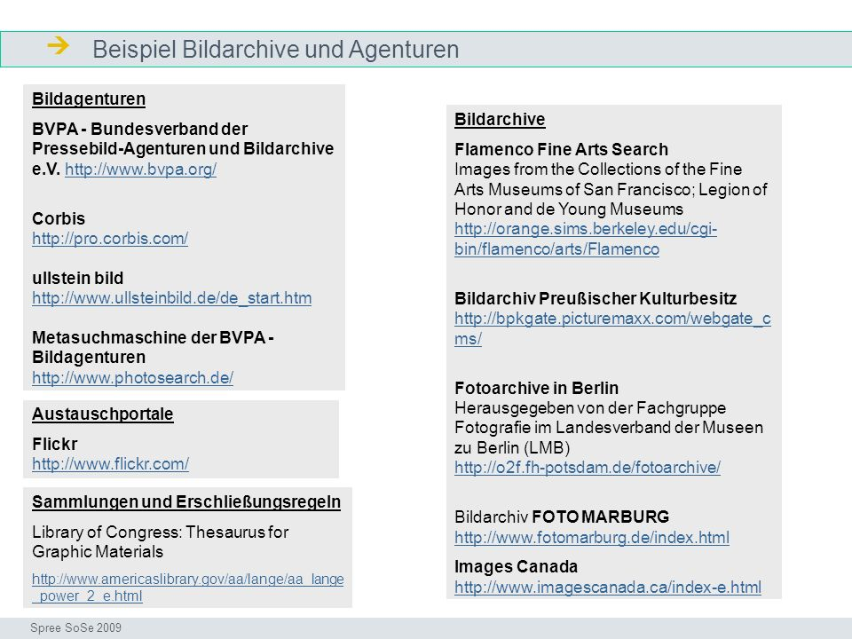  Beispiel Bildarchive und Agenturen Bildagenturen