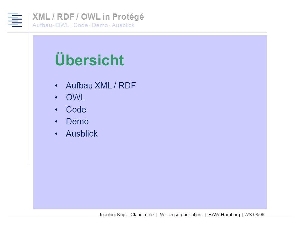 XML / RDF / OWL in Protégé Aufbau · OWL · Code · Demo · Ausblick