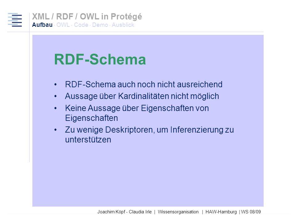 27.03.2017XML / RDF / OWL in Protégé Aufbau · OWL · Code · Demo · Ausblick. RDF-Schema. RDF-Schema auch noch nicht ausreichend.