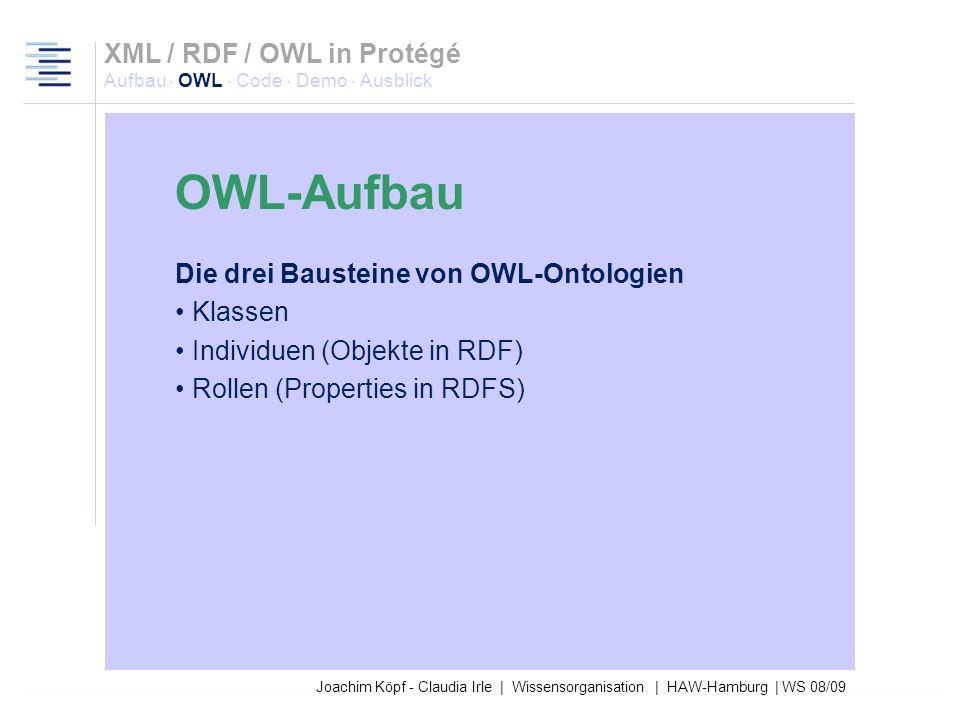 27.03.2017XML / RDF / OWL in Protégé Aufbau · OWL · Code · Demo · Ausblick. OWL-Aufbau.