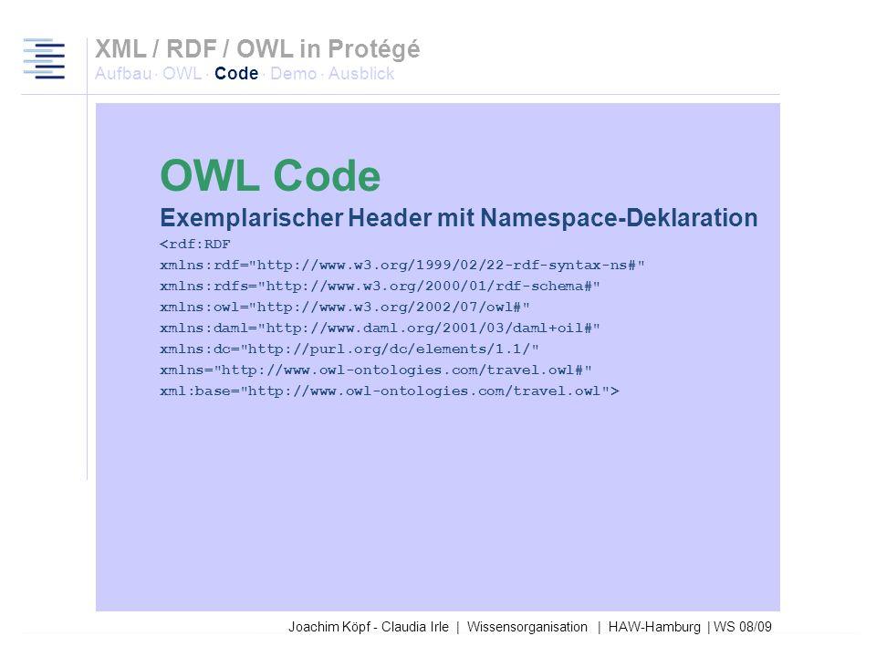 27.03.2017XML / RDF / OWL in Protégé Aufbau · OWL · Code · Demo · Ausblick. OWL Code. Exemplarischer Header mit Namespace-Deklaration.