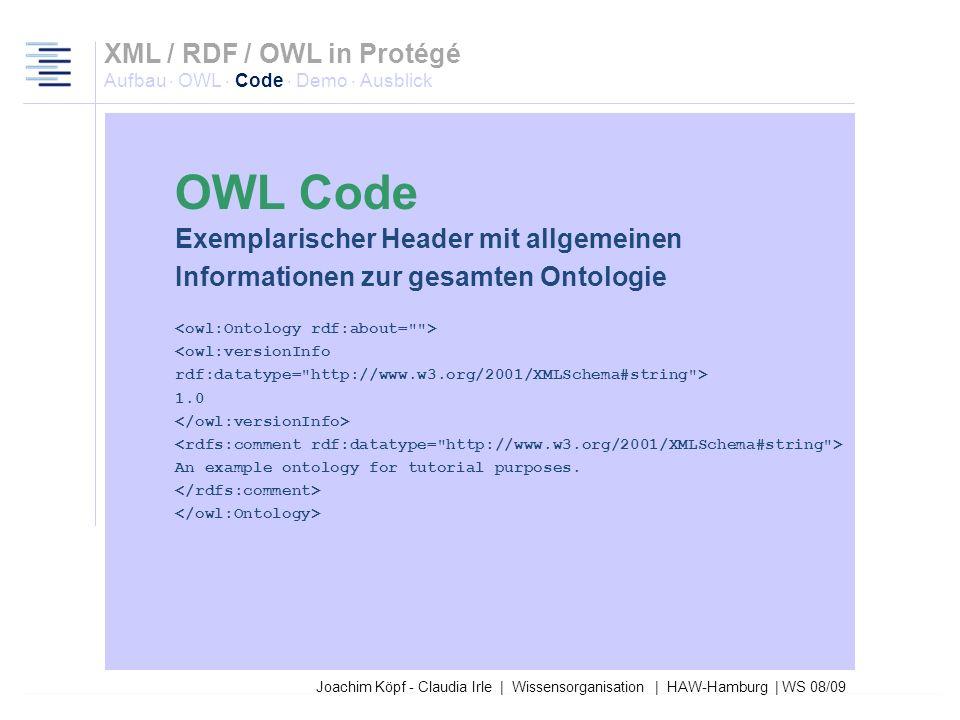 27.03.2017XML / RDF / OWL in Protégé Aufbau · OWL · Code · Demo · Ausblick. OWL Code. Exemplarischer Header mit allgemeinen.