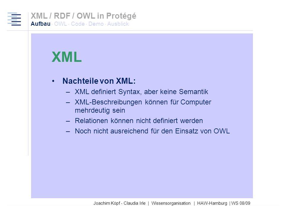 XML XML / RDF / OWL in Protégé Aufbau · OWL · Code · Demo · Ausblick