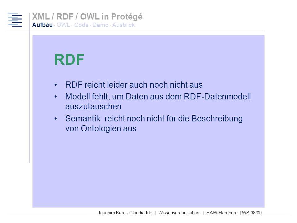 RDF XML / RDF / OWL in Protégé Aufbau · OWL · Code · Demo · Ausblick