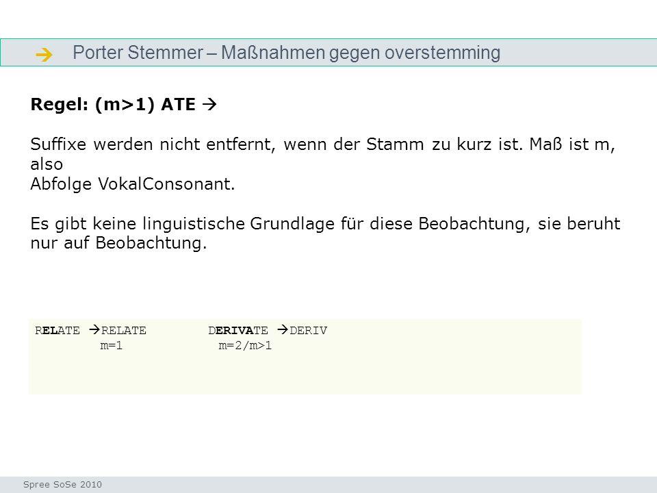  Porter Stemmer – Maßnahmen gegen overstemming Regel: (m>1) ATE 