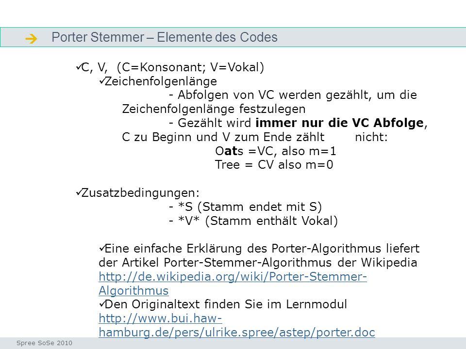  Porter Stemmer – Elemente des Codes C, V, (C=Konsonant; V=Vokal)