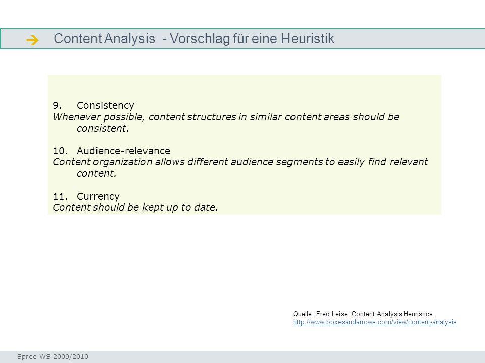  Content Analysis - Vorschlag für eine Heuristik Consistency