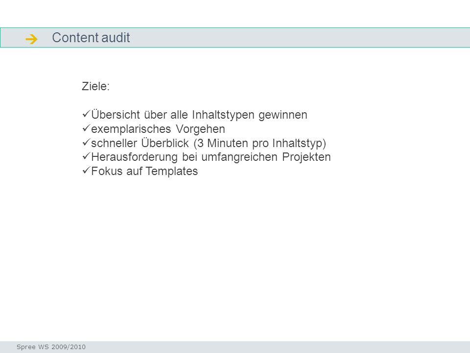  Content audit Ziele: Übersicht über alle Inhaltstypen gewinnen