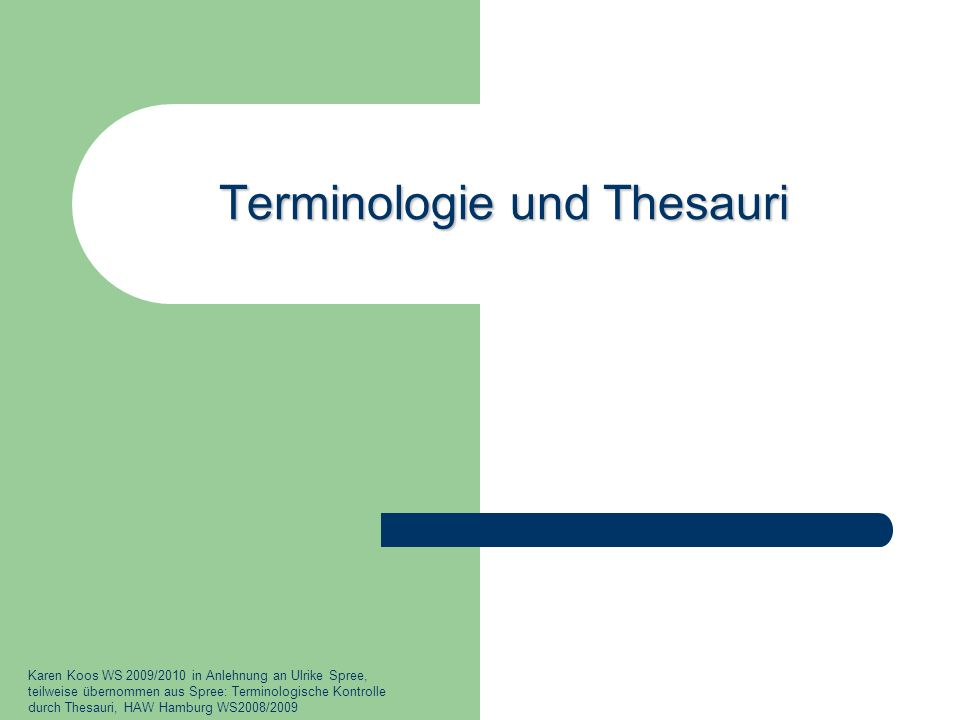 Terminologie und Thesauri