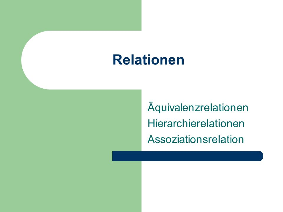 Äquivalenzrelationen Hierarchierelationen Assoziationsrelation