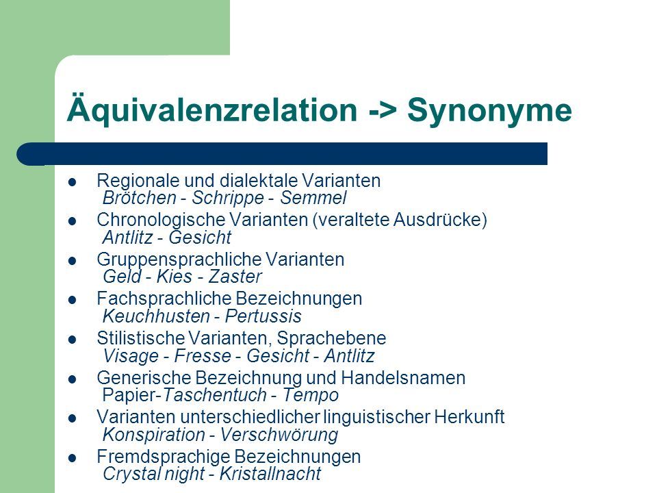 Äquivalenzrelation -> Synonyme