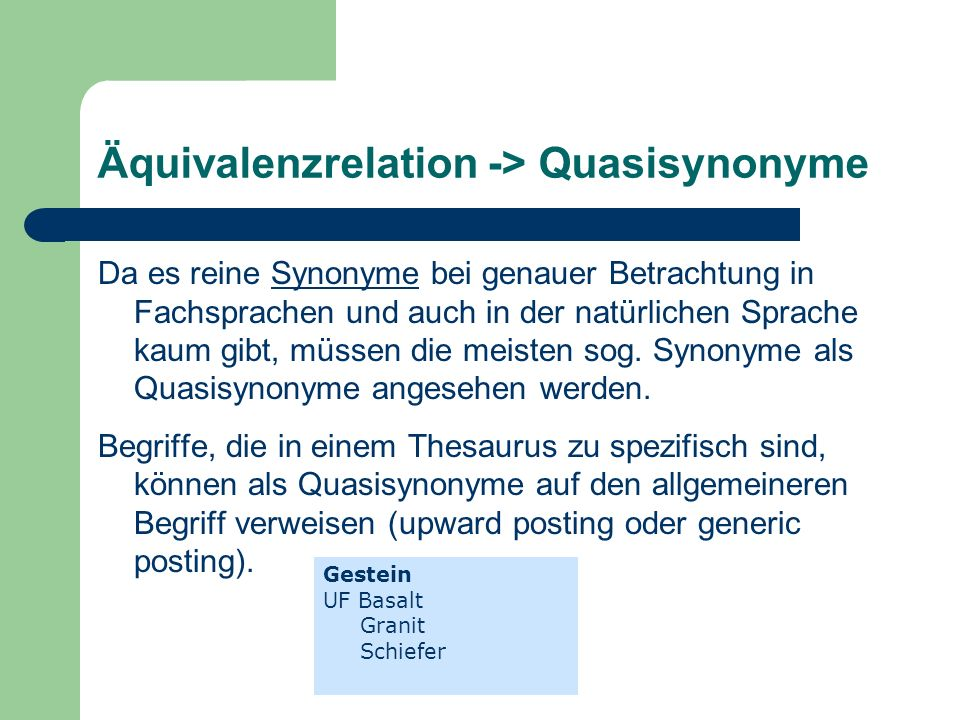 Äquivalenzrelation -> Quasisynonyme