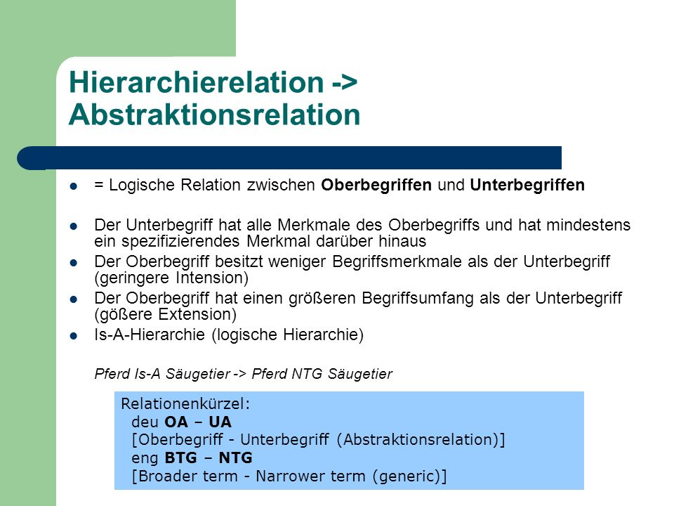 Hierarchierelation -> Abstraktionsrelation