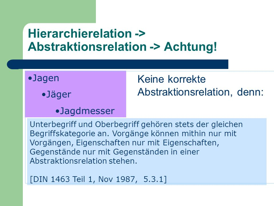 Hierarchierelation -> Abstraktionsrelation -> Achtung!