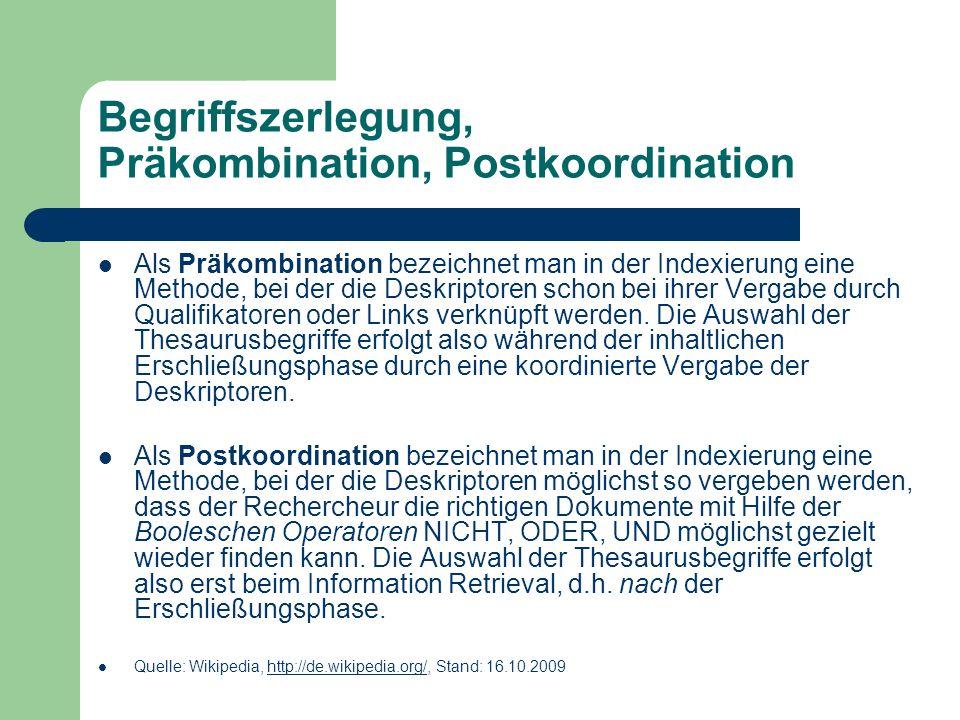 Begriffszerlegung, Präkombination, Postkoordination