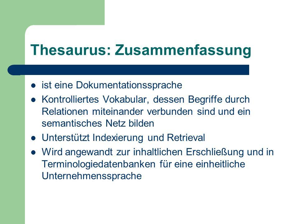 Thesaurus: Zusammenfassung