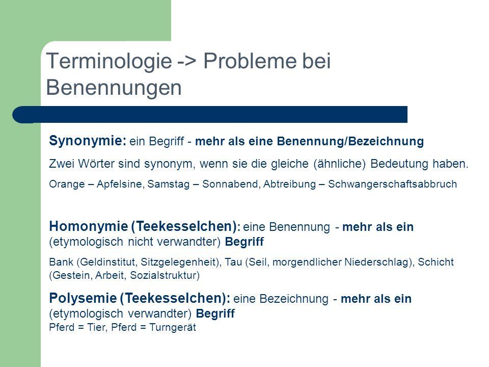 Terminologie -> Probleme bei Benennungen