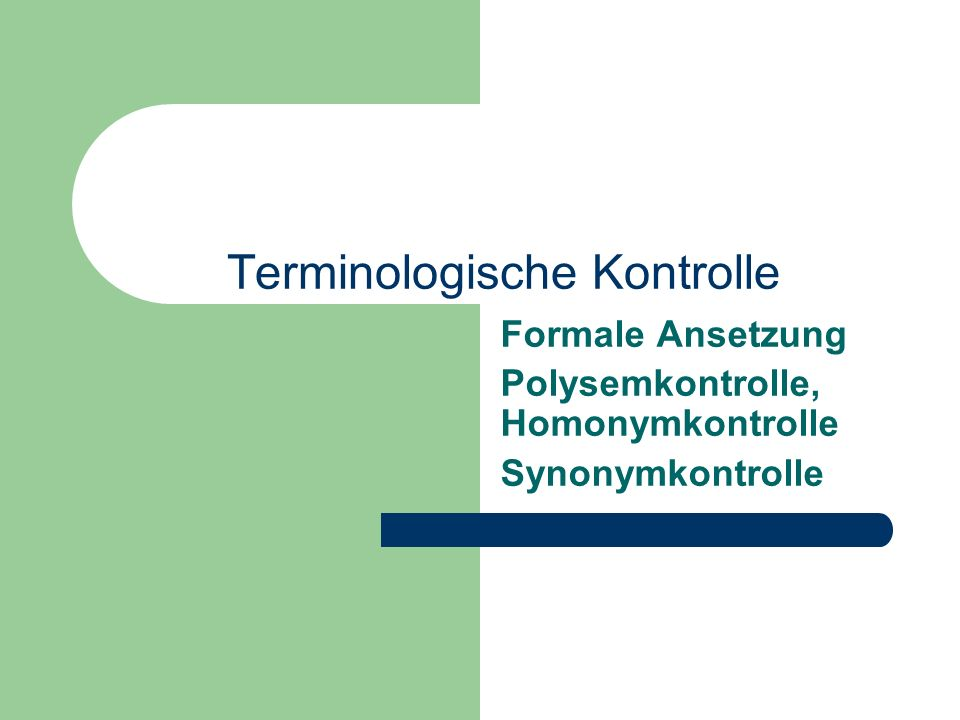Terminologische Kontrolle