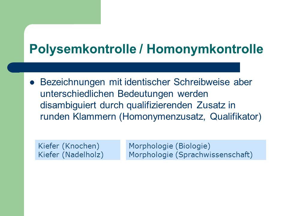 Polysemkontrolle / Homonymkontrolle