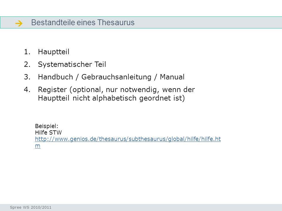  Bestandteile eines Thesaurus Hauptteil Systematischer Teil