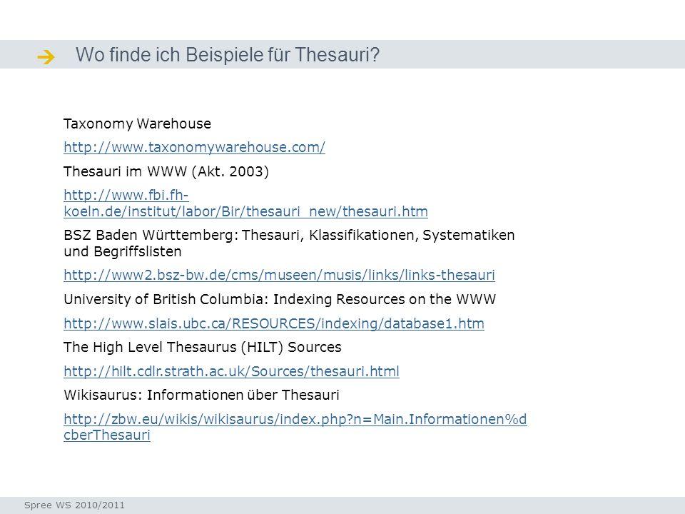  Wo finde ich Beispiele für Thesauri Taxonomy Warehouse