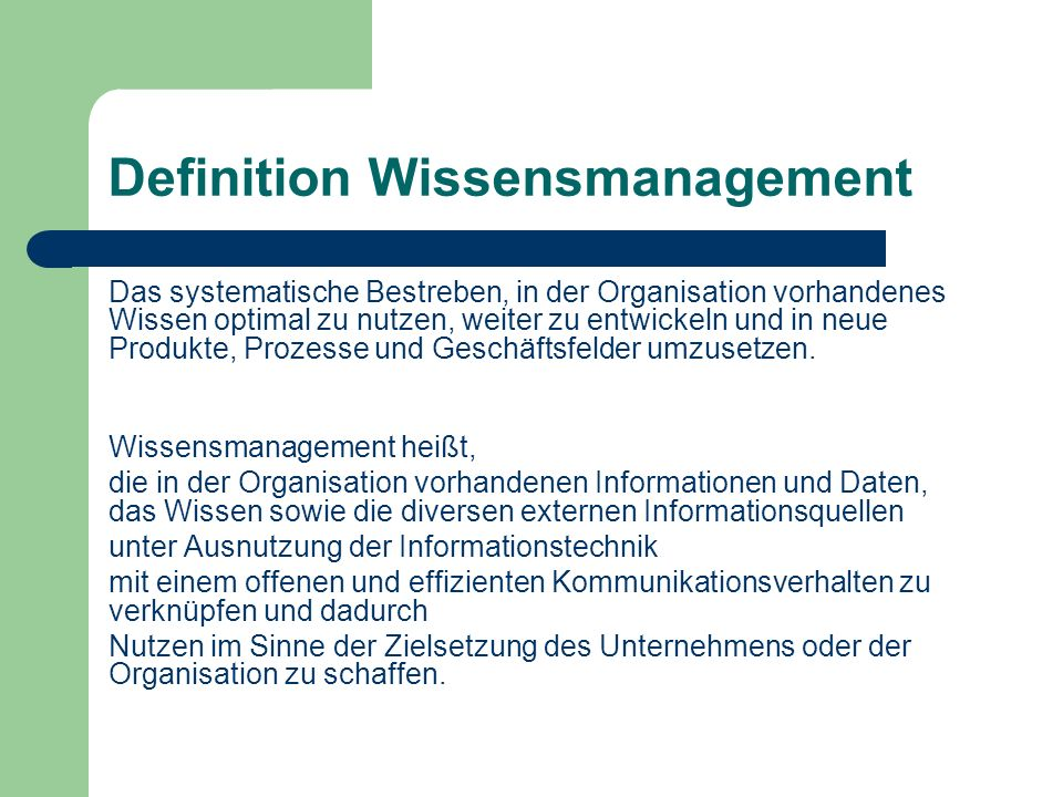 Definition Wissensmanagement