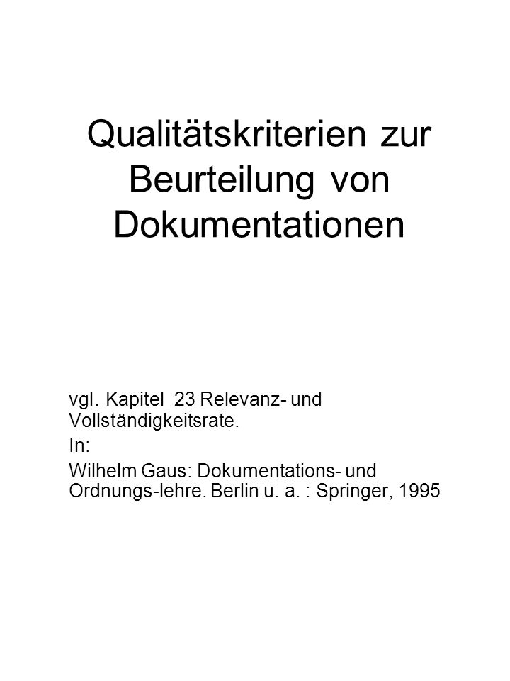 Qualitätskriterien zur Beurteilung von Dokumentationen