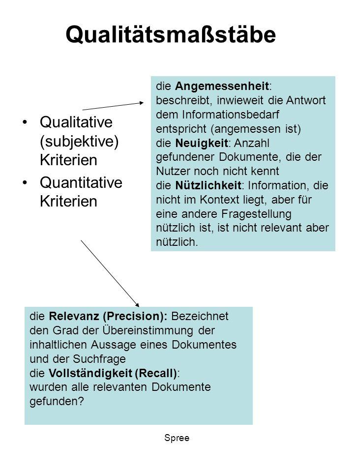Qualitätsmaßstäbe Qualitative (subjektive) Kriterien