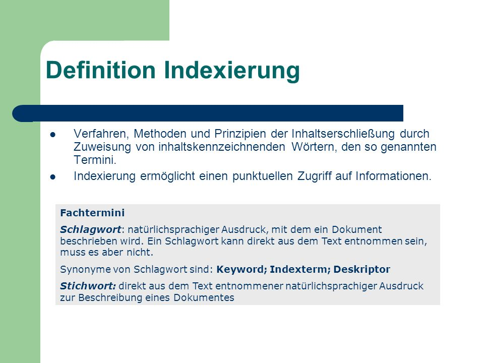 Definition Indexierung