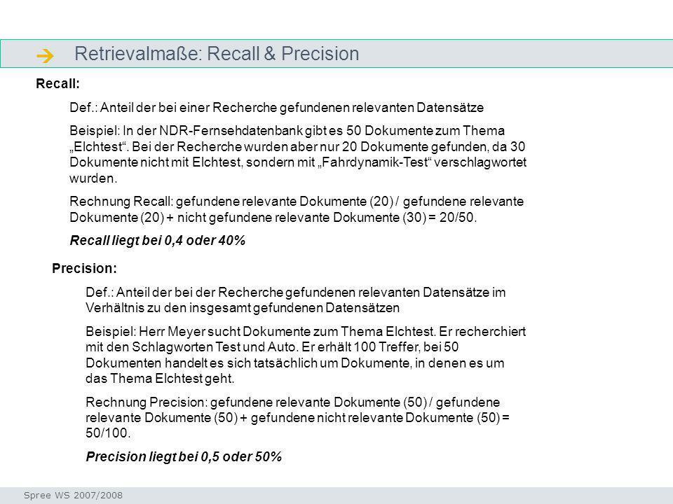  Retrievalmaße: Recall & Precision Recall: