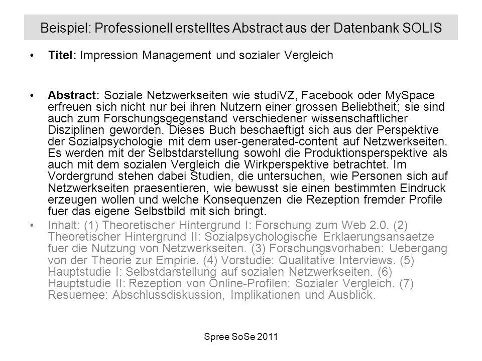 Beispiel: Professionell erstelltes Abstract aus der Datenbank SOLIS