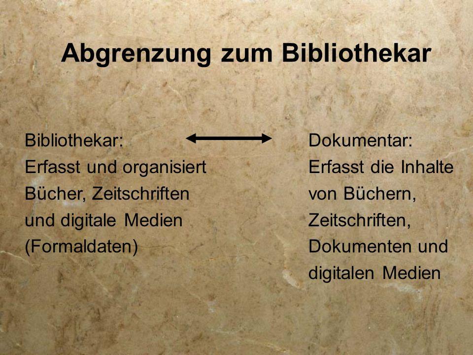 Abgrenzung zum Bibliothekar