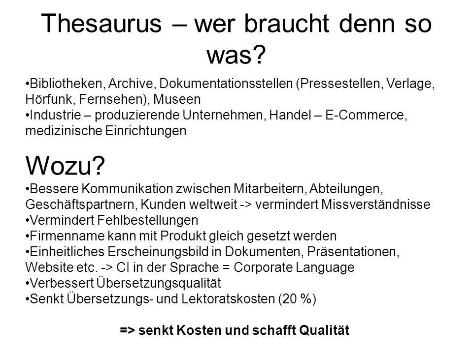 Thesaurus – wer braucht denn so was