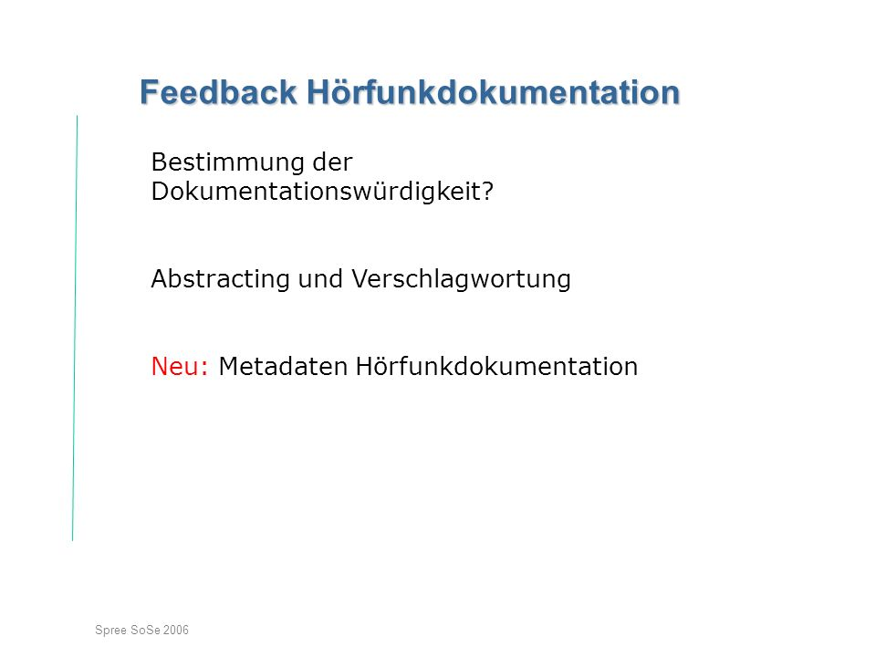 Feedback Hörfunkdokumentation